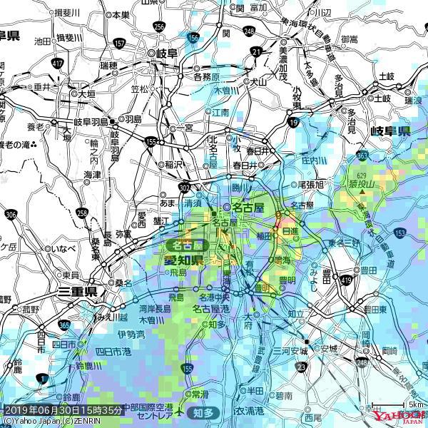 名古屋の天気(雨): 強い雨 降水強度: 27.50(mm/h)  2019年06月30日 15時35分の雨雲 https://t.co/cYrRU9sV0H #豪雨bot #雨雲bot #bot https://t.co/4nM4LeEYTg