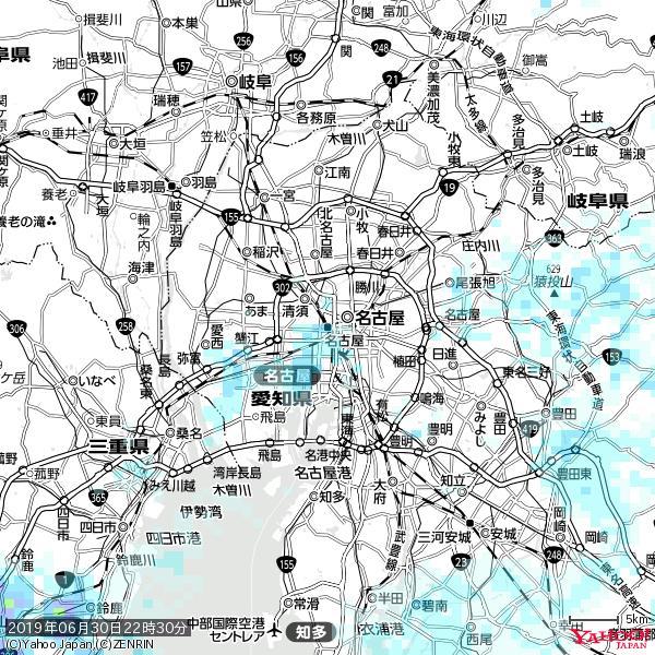 名古屋の天気(雨) 降水強度: 2.13(mm/h)  2019年06月30日 22時30分の雨雲 https://t.co/cYrRU9sV0H #雨雲bot #bot https://t.co/eKIIQIy01D