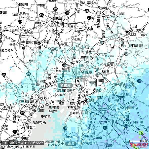名古屋の天気(雨) 降水強度: 1.85(mm/h)  2019年07月01日 08時55分の雨雲 https://t.co/cYrRU9sV0H #雨雲bot #bot https://t.co/Sb8tJyZV91