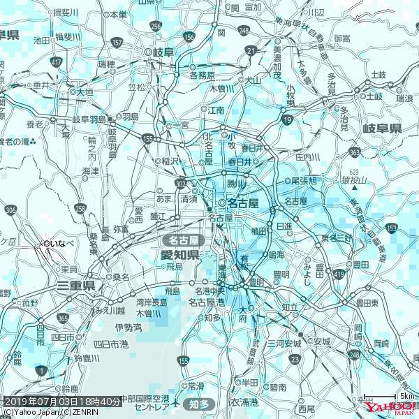 名古屋の天気(雨) 降水強度: 1.85(mm/h)  2019年07月03日 18時40分の雨雲 https://t.co/cYrRU9sV0H #雨雲bot #bot https://t.co/wukPlH2Wrr