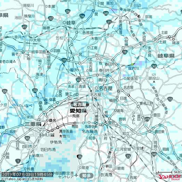 名古屋の天気(雨) 降水強度: 0.95(mm/h)  2019年07月03日 19時45分の雨雲 https://t.co/cYrRU9sV0H #雨雲bot #bot https://t.co/krOAAmtFdF