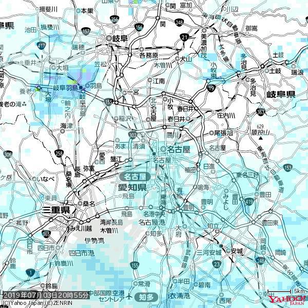 名古屋の天気(雨) 降水強度: 1.25(mm/h)  2019年07月03日 20時55分の雨雲 https://t.co/cYrRU9sV0H #雨雲bot #bot https://t.co/Ed18FGrkkj