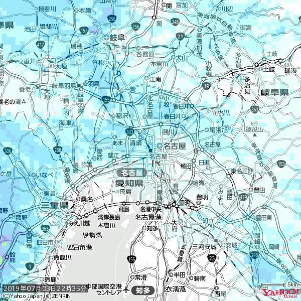 名古屋の天気(雨) 降水強度: 2.38(mm/h)  2019年07月03日 22時35分の雨雲 https://t.co/cYrRU9sV0H #雨雲bot #bot https://t.co/LVdnrJyKJn