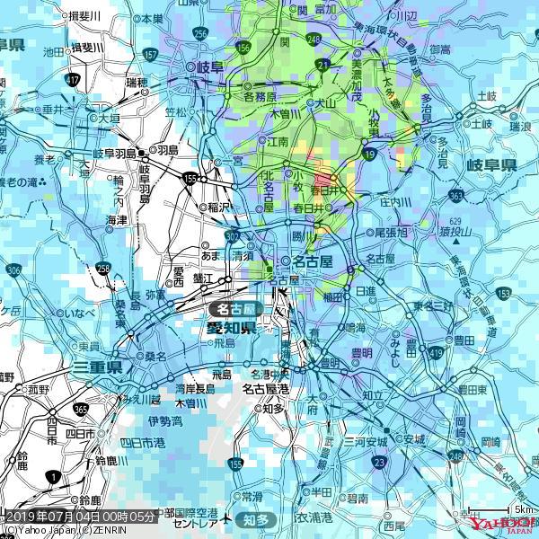 名古屋の天気(雨): やや強い雨 降水強度: 12.50(mm/h)  2019年07月04日 00時05分の雨雲 https://t.co/cYrRU9sV0H #雨雲bot #bot https://t.co/3aKwMtW0Pd