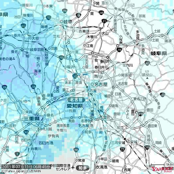 名古屋の天気(雨) 降水強度: 1.85(mm/h)  2019年07月11日 06時45分の雨雲 https://t.co/cYrRU9sV0H #雨雲bot #bot https://t.co/GkIogNEboq