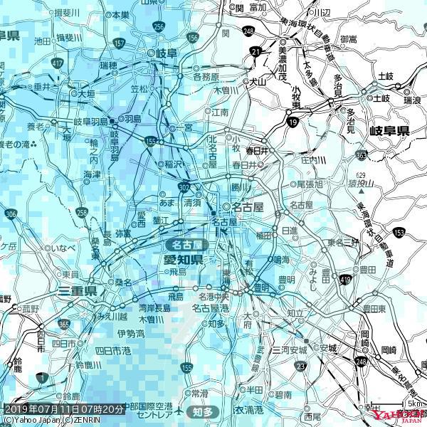 名古屋の天気(雨) 降水強度: 3.63(mm/h)  2019年07月11日 07時20分の雨雲 https://t.co/cYrRU9sV0H #雨雲bot #bot https://t.co/uMY74O3EWe