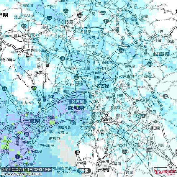 名古屋の天気(雨) 降水強度: 3.38(mm/h)  2019年07月11日 08時15分の雨雲 https://t.co/cYrRU9sV0H #雨雲bot #bot https://t.co/xZ2qwcZVVC