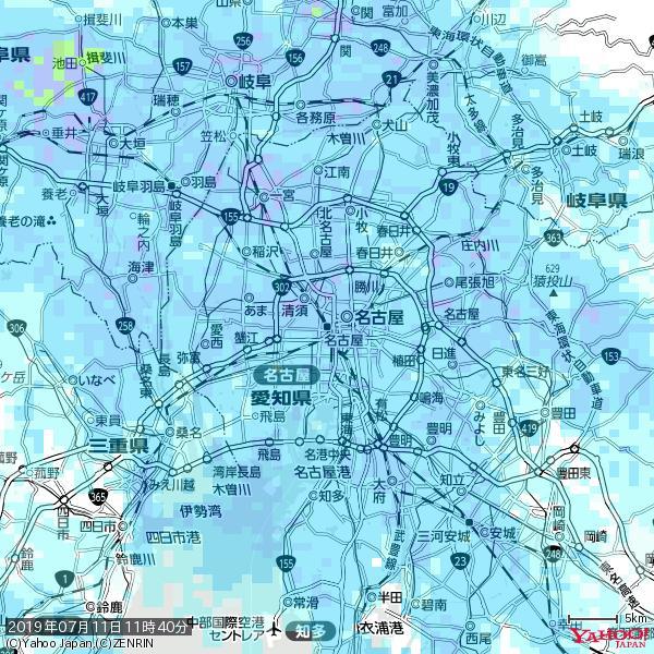 名古屋の天気(雨) 降水強度: 5.75(mm/h)  2019年07月11日 11時40分の雨雲 https://t.co/cYrRU9sV0H #雨雲bot #bot https://t.co/ZowCWBnAtS