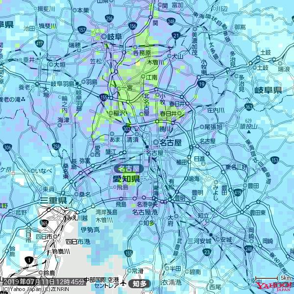 名古屋の天気(雨) 降水強度: 6.75(mm/h)  2019年07月11日 12時45分の雨雲 https://t.co/cYrRU9sV0H #雨雲bot #bot https://t.co/OtaOK1bp3F