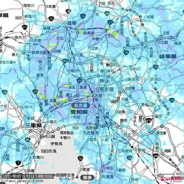 名古屋の天気(雨) 降水強度: 8.75(mm/h)  2019年07月11日 14時30分の雨雲 https://t.co/cYrRU9sV0H #雨雲bot #bot https://t.co/SgVS8DOjEF