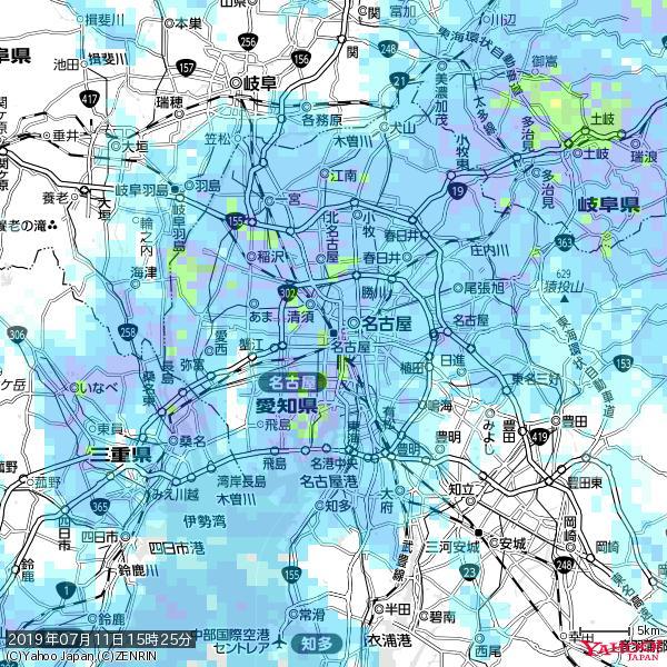 名古屋の天気(雨) 降水強度: 7.25(mm/h)  2019年07月11日 15時25分の雨雲 https://t.co/cYrRU9sV0H #雨雲bot #bot https://t.co/zqyLX6Rum7