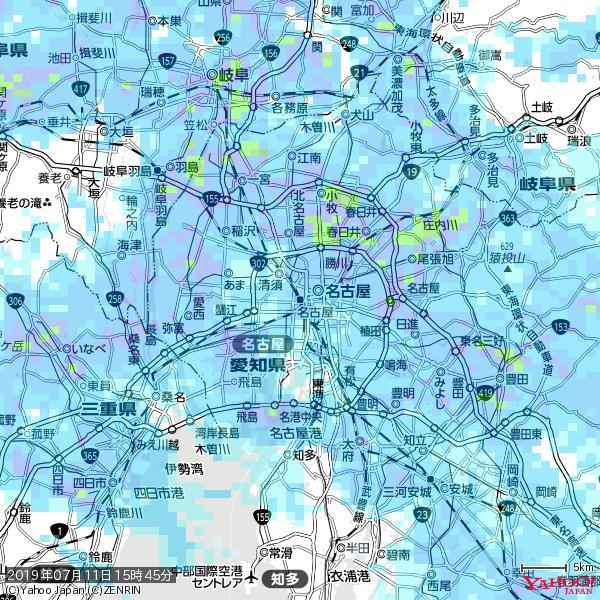 名古屋の天気(雨) 降水強度: 6.75(mm/h)  2019年07月11日 15時45分の雨雲 https://t.co/cYrRU9sV0H #雨雲bot #bot https://t.co/p4ZJr851iW