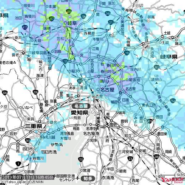 名古屋の天気(雨) 降水強度: 2.13(mm/h)  2019年07月11日 16時45分の雨雲 https://t.co/cYrRU9sV0H #雨雲bot #bot https://t.co/wvhnVvWjRB
