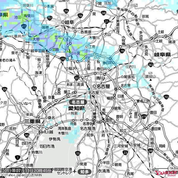名古屋の天気(雨) 降水強度: 1.55(mm/h)  2019年07月11日 20時45分の雨雲 https://t.co/cYrRU9sV0H #雨雲bot #bot https://t.co/LKhA07Crf3