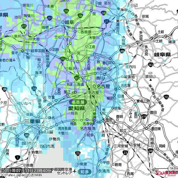 名古屋の天気(雨): 強い雨 降水強度: 26.50(mm/h)  2019年07月11日 23時40分の雨雲 https://t.co/cYrRU9sV0H #豪雨bot #雨雲bot #bot https://t.co/OY0BVTHQol