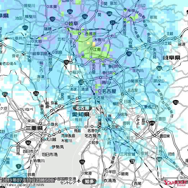 名古屋の天気(雨) 降水強度: 7.25(mm/h)  2019年07月11日 23時50分の雨雲 https://t.co/cYrRU9sV0H #雨雲bot #bot https://t.co/I2PwpqEix9