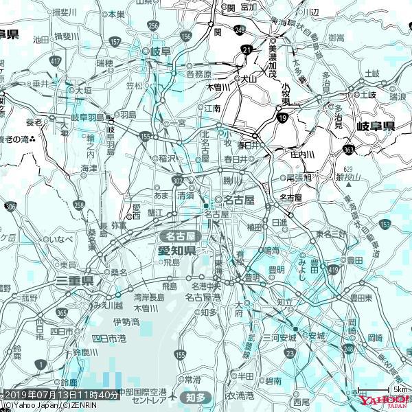 名古屋の天気(雨) 降水強度: 1.05(mm/h)  2019年07月13日 11時40分の雨雲 https://t.co/cYrRU9sV0H #雨雲bot #bot https://t.co/4TQuX21P14