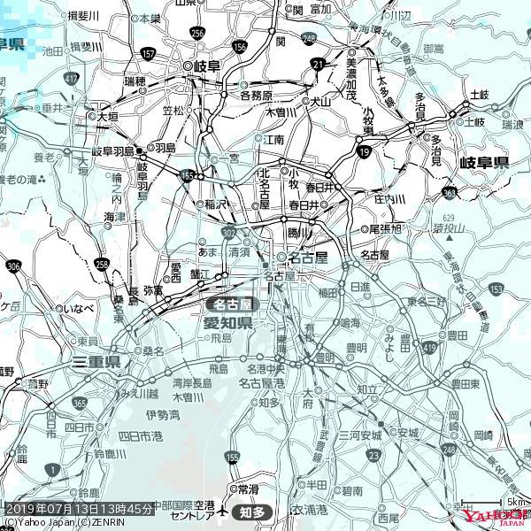 名古屋の天気(雨) 降水強度: 0.25(mm/h)  2019年07月13日 13時45分の雨雲 https://t.co/cYrRU9sV0H #雨雲bot #bot https://t.co/6ue03z9mfg