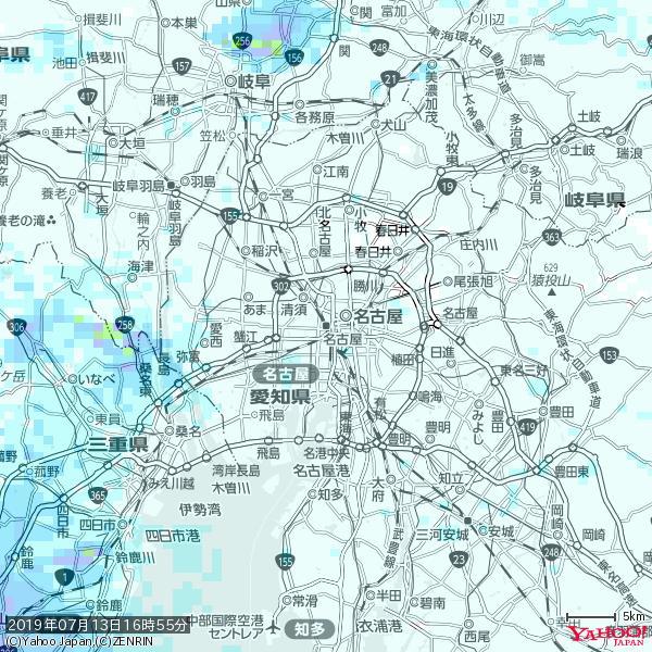 名古屋の天気(雨) 降水強度: 0.65(mm/h)  2019年07月13日 16時55分の雨雲 https://t.co/cYrRU9sV0H #雨雲bot #bot https://t.co/AtEiL0K6II