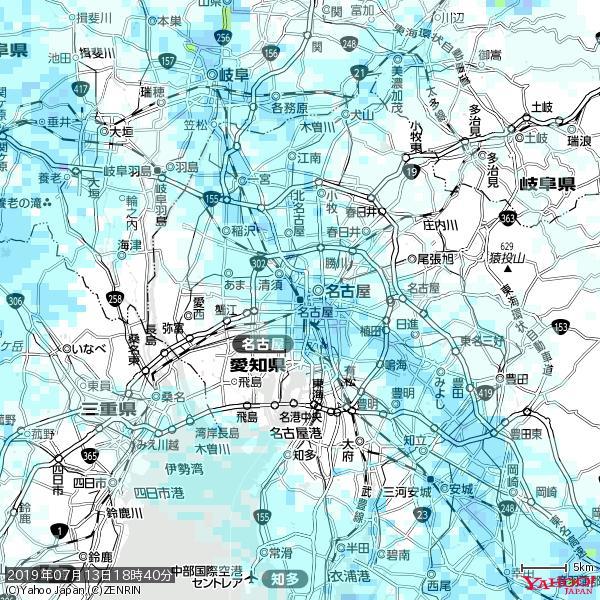名古屋の天気(雨) 降水強度: 2.63(mm/h)  2019年07月13日 18時40分の雨雲 https://t.co/cYrRU9sV0H #雨雲bot #bot https://t.co/PkMXBp1dib