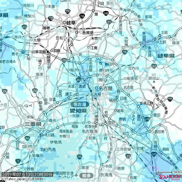 名古屋の天気(雨) 降水強度: 3.88(mm/h)  2019年07月13日 20時30分の雨雲 https://t.co/cYrRU9sV0H #雨雲bot #bot https://t.co/lL7WUPZTl0