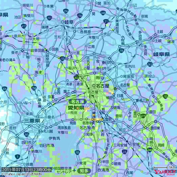 名古屋の天気(雨): やや強い雨 降水強度: 14.50(mm/h)  2019年07月13日 23時00分の雨雲 https://t.co/cYrRU9sV0H #雨雲bot #bot https://t.co/afdEepewey