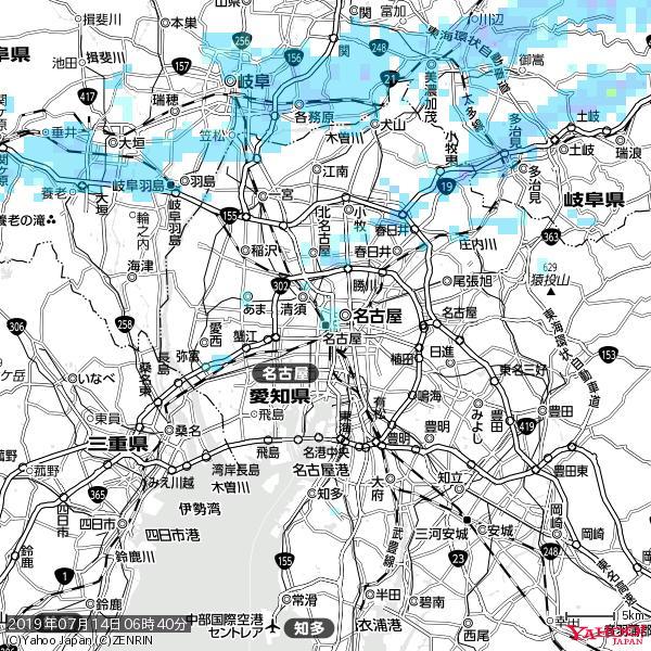 名古屋の天気(雨) 降水強度: 1.25(mm/h)  2019年07月14日 06時40分の雨雲 https://t.co/cYrRU9sV0H #雨雲bot #bot https://t.co/ksKb95yydH