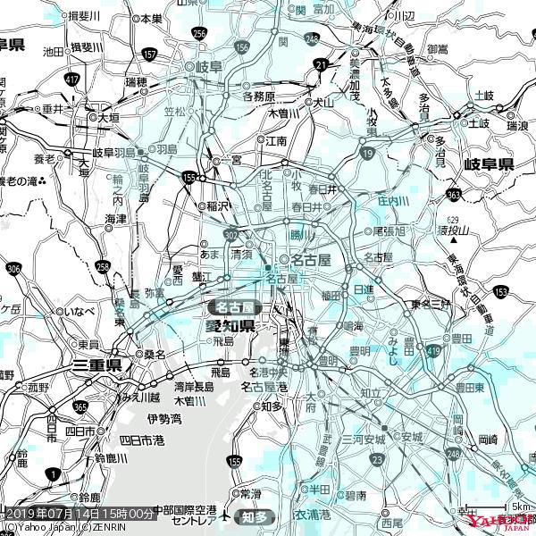 名古屋の天気(雨) 降水強度: 1.05(mm/h)  2019年07月14日 15時00分の雨雲 https://t.co/cYrRU9sV0H #雨雲bot #bot https://t.co/uOwBfGymXU