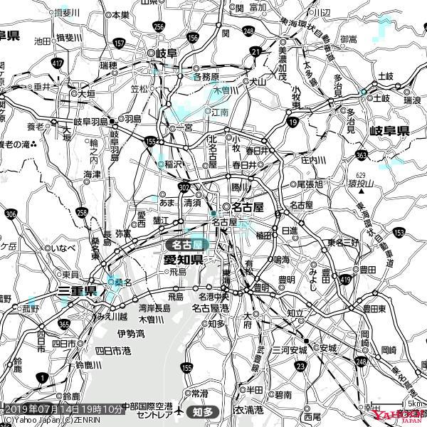 名古屋の天気(雨) 降水強度: 1.05(mm/h)  2019年07月14日 19時10分の雨雲 https://t.co/cYrRU9sV0H #雨雲bot #bot https://t.co/pFS6QsjHEf