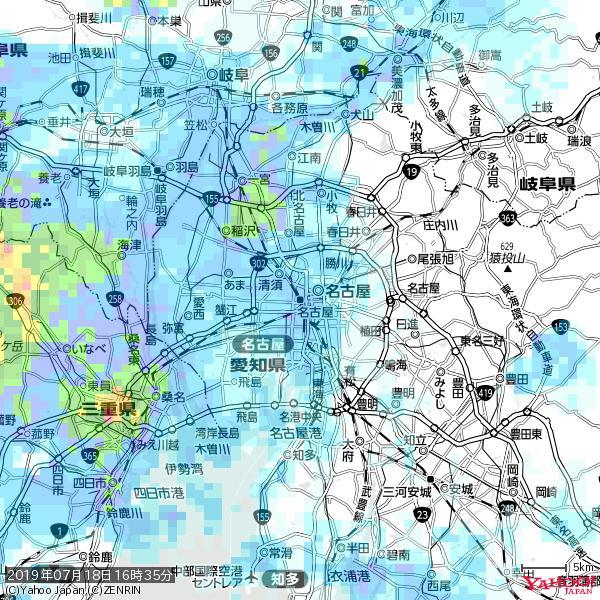 名古屋の天気(雨) 降水強度: 4.38(mm/h)  2019年07月18日 16時35分の雨雲 https://t.co/cYrRU9sV0H #雨雲bot #bot https://t.co/tgfFR4rcUw