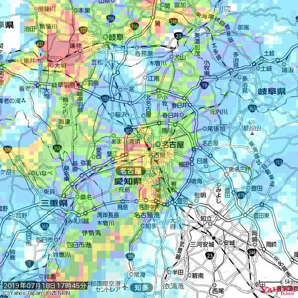 名古屋の天気(雨): 激しい雨 降水強度: 31.50(mm/h)  2019年07月18日 17時45分の雨雲 https://t.co/cYrRU9sV0H #豪雨bot #雨雲bot #bot https://t.co/fyRxCqOwki