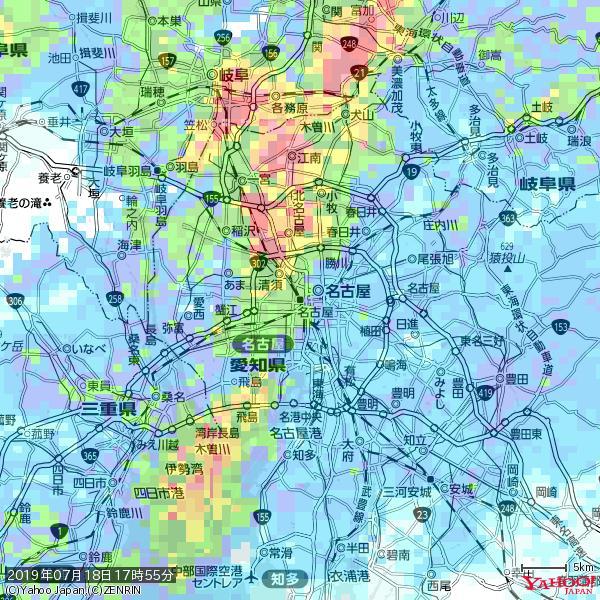 名古屋の天気(雨): やや強い雨 降水強度: 16.50(mm/h)  2019年07月18日 17時55分の雨雲 https://t.co/cYrRU9sV0H #雨雲bot #bot https://t.co/RgDGqphygu