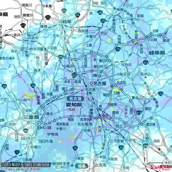 名古屋の天気(雨) 降水強度: 6.75(mm/h)  2019年07月18日 21時50分の雨雲 https://t.co/cYrRU9sV0H #雨雲bot #bot https://t.co/HV9fM0UmPa