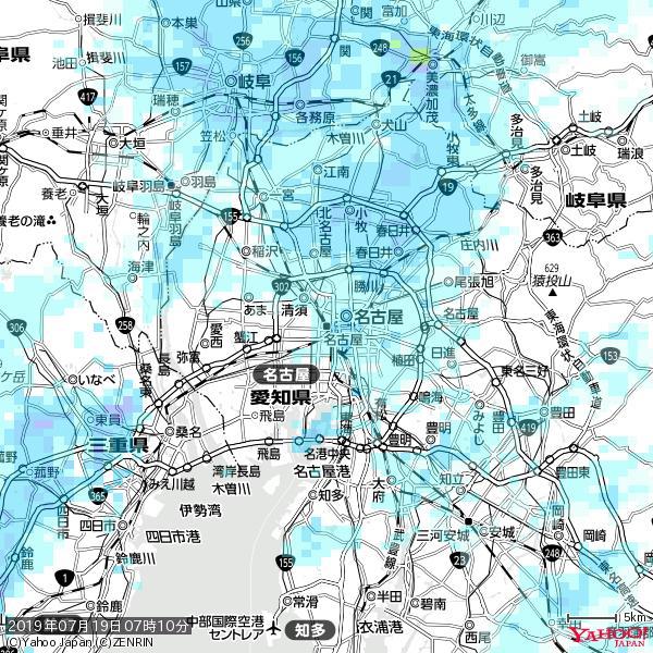 名古屋の天気(雨) 降水強度: 1.55(mm/h)  2019年07月19日 07時10分の雨雲 https://t.co/cYrRU9sV0H #雨雲bot #bot https://t.co/u8UufbUy6E