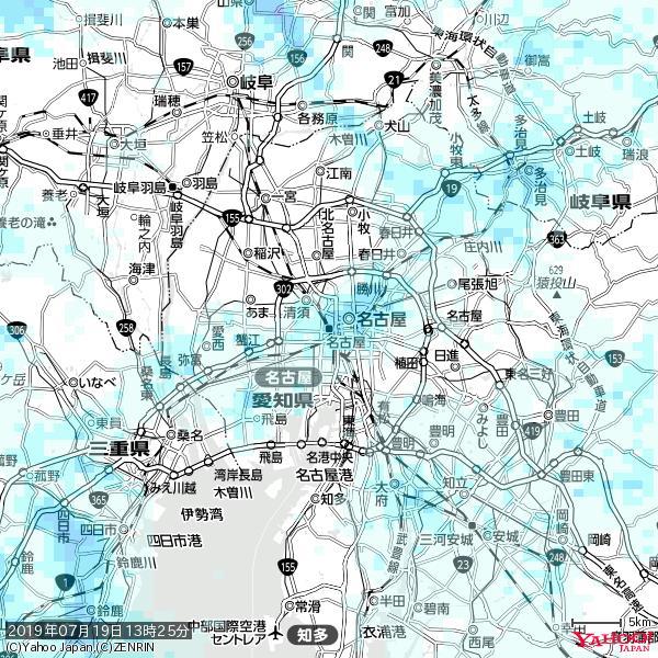 名古屋の天気(雨) 降水強度: 2.88(mm/h)  2019年07月19日 13時25分の雨雲 https://t.co/cYrRU9sV0H #雨雲bot #bot https://t.co/RIVA1OYL1N