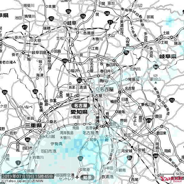 名古屋の天気(雨) 降水強度: 0.45(mm/h)  2019年07月19日 15時45分の雨雲 https://t.co/cYrRU9sV0H #雨雲bot #bot https://t.co/S4YAyh0LGz