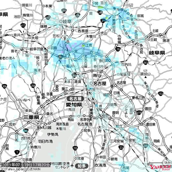 名古屋の天気(雨) 降水強度: 0.55(mm/h)  2019年07月19日 17時20分の雨雲 https://t.co/cYrRU9sV0H #雨雲bot #bot https://t.co/ATixrSMg3v