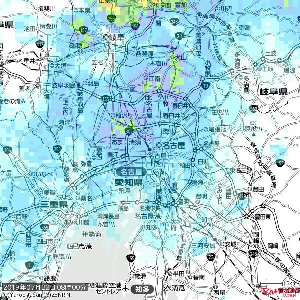 名古屋の天気(雨) 降水強度: 5.75(mm/h)  2019年07月22日 08時00分の雨雲 https://t.co/cYrRU9sV0H #雨雲bot #bot https://t.co/38B7ivfa12