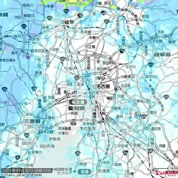 名古屋の天気(雨) 降水強度: 2.13(mm/h)  2019年07月22日 09時20分の雨雲 https://t.co/cYrRU9sV0H #雨雲bot #bot https://t.co/ricQoZsjlJ