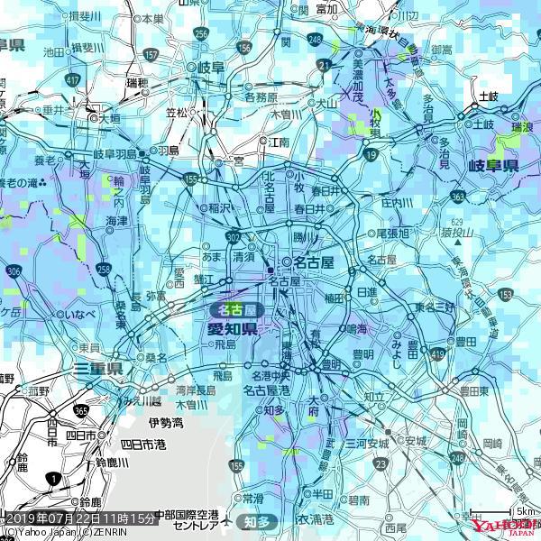 名古屋の天気(雨): やや強い雨 降水強度: 10.50(mm/h)  2019年07月22日 11時15分の雨雲 https://t.co/cYrRU9sV0H #雨雲bot #bot https://t.co/8MihQ42ivh