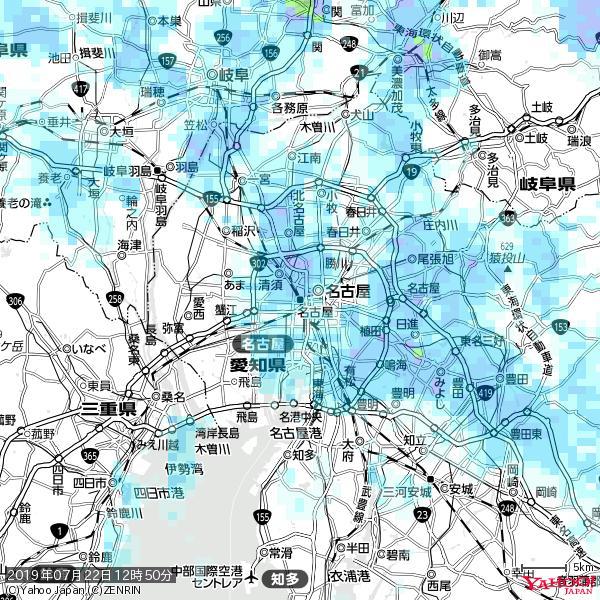 名古屋の天気(雨) 降水強度: 3.13(mm/h)  2019年07月22日 12時50分の雨雲 https://t.co/cYrRU9sV0H #雨雲bot #bot https://t.co/llJqLe2XMh