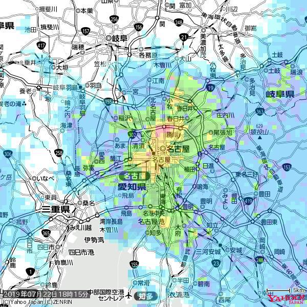 名古屋の天気(雨): 激しい雨 降水強度: 44.50(mm/h)  2019年07月22日 18時15分の雨雲 https://t.co/cYrRU9sV0H #豪雨bot #雨雲bot #bot https://t.co/NOlabwJ8wT