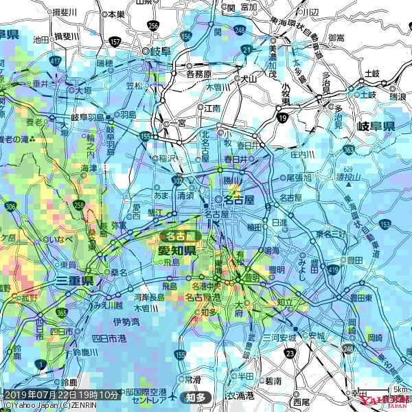 名古屋の天気(雨) 降水強度: 6.75(mm/h)  2019年07月22日 19時10分の雨雲 https://t.co/cYrRU9sV0H #雨雲bot #bot https://t.co/M9OssQbBYz