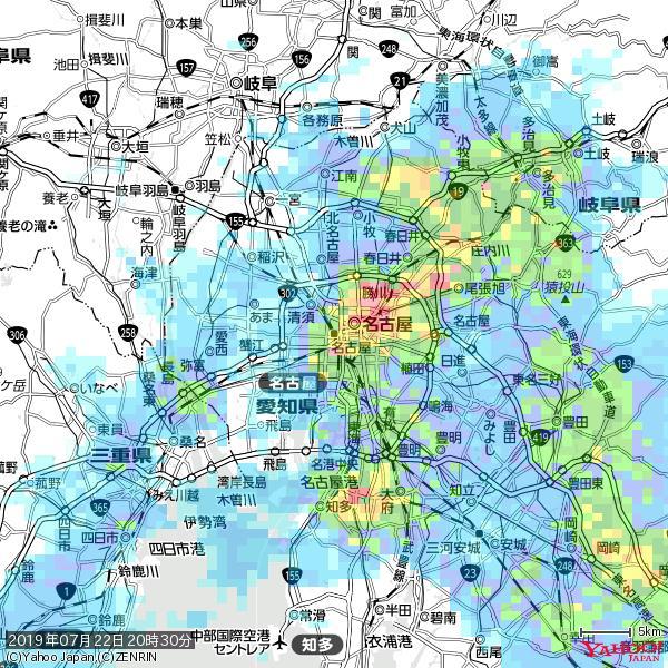 名古屋の天気(雨): 激しい雨 降水強度: 34.50(mm/h)  2019年07月22日 20時30分の雨雲 https://t.co/cYrRU9sV0H #豪雨bot #雨雲bot #bot https://t.co/Qi2t4gvLEj