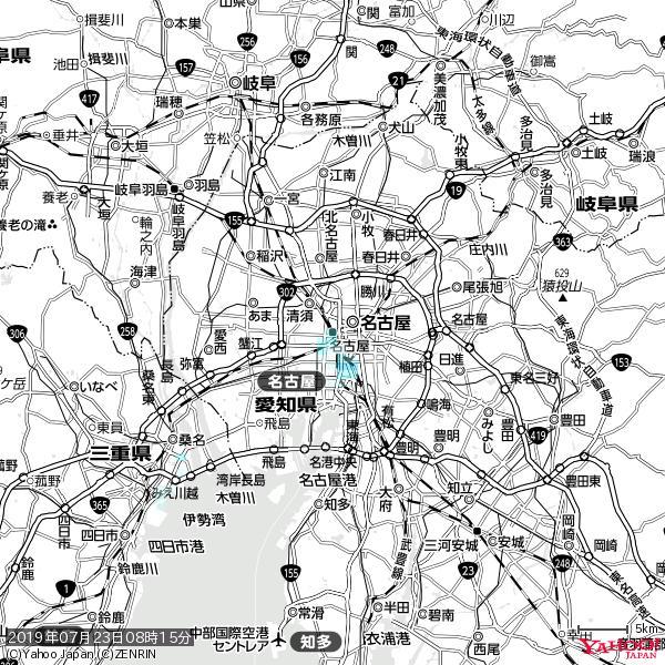名古屋の天気(雨) 降水強度: 1.25(mm/h)  2019年07月23日 08時15分の雨雲 https://t.co/cYrRU9sV0H #雨雲bot #bot https://t.co/FjqwcAYEes
