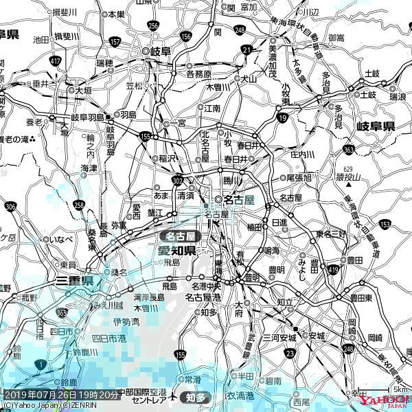 名古屋の天気(雨) 降水強度: 0.85(mm/h)  2019年07月26日 19時20分の雨雲 https://t.co/cYrRU9sV0H #雨雲bot #bot https://t.co/ZMw5FTKp7K
