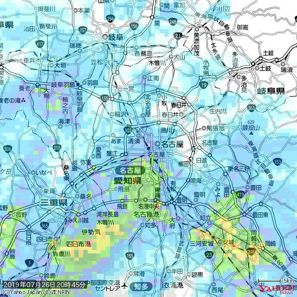 名古屋の天気(雨) 降水強度: 6.25(mm/h)  2019年07月26日 20時45分の雨雲 https://t.co/cYrRU9sV0H #雨雲bot #bot https://t.co/yRUywSwHso