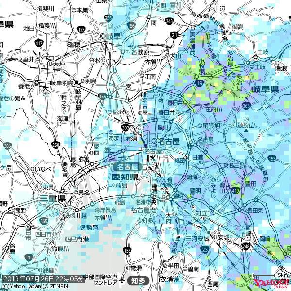 名古屋の天気(雨) 降水強度: 8.25(mm/h)  2019年07月26日 22時05分の雨雲 https://t.co/cYrRU9sV0H #雨雲bot #bot https://t.co/PkGtP20wfw
