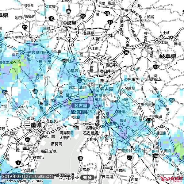 名古屋の天気(雨) 降水強度: 7.25(mm/h)  2019年07月27日 05時50分の雨雲 https://t.co/cYrRU9sV0H #雨雲bot #bot https://t.co/hh5FA0gE03
