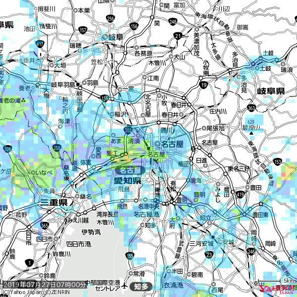 名古屋の天気(雨): やや強い雨 降水強度: 14.50(mm/h)  2019年07月27日 07時00分の雨雲 https://t.co/cYrRU9sV0H #雨雲bot #bot https://t.co/BPzdjAC8O9